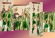 Metal Glass Art - Annunaki Dream Copper Metalwork Feng Shui Glass Crystal Wind Chime by Karen Martel