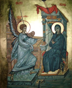 Icon Byzantine Metal Prints - Annunciation Metal Print by Filip Mihail