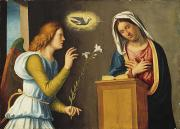 Virgin Mary Photo Framed Prints - Annunciation to the Virgin Framed Print by Giovanni Battista Cima da Conegliano