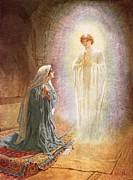 Knelt Posters - Annunciation Poster by William Brassey Hole