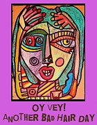 Invitations Paintings - Another Bad Hair Day - Yiddish by Sandra Silberzweig