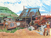 Old Trucks Paintings - Another Mans Treasure by LeAnne Sowa