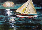 Sea Moon Full Moon Drawings Framed Prints - Another Moonlit Sail Framed Print by John  Williams