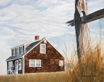 Cottage Painting Posters - Another New England Sunrise Poster by Dominic White