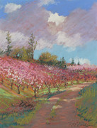 Pink Blossoms Pastels Posters - Another Pretty Day Poster by Reif Erickson