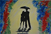 Rainy Street Painting Framed Prints - Another Rainy Day Framed Print by Leslie Allen