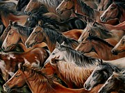 Herd Of Horses Paintings - Another Run In The Sun by Rick Unger