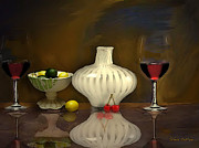 Wine Reflection Art Mixed Media Framed Prints - Another still life Framed Print by Stevn Dutton
