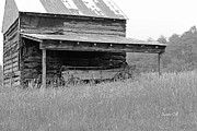 Log Cabin Art Art - Another Time -- black and white by Suzanne Gaff