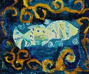 Marine Fish Tapestries - Textiles Prints - Another world Print by Aliza Souleyeva-Alexander