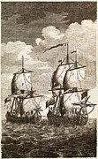 Centurion Posters - Ansons Spanish Galleon Capture, 1743 Poster by Middle Temple Library