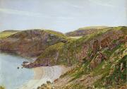 Rocky Shoreline Paintings - Ansteys Cove by George Price Boyce