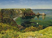 Blues Paintings - Ansteys Cove in Devon by John William Inchbold