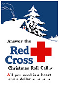 Cabin Digital Art Framed Prints - Answer The Red Cross Christmas Roll Call Framed Print by War Is Hell Store