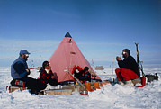 Antarctic Research Team Relaxing Outside Tent Print by David Vaughan