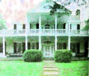 Historic Home Mixed Media Prints - Antebellum Home Mississippi Print by Florene Welebny