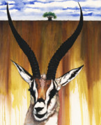 Black Artist Mixed Media Posters - Antelope Poster by Anthony Burks