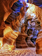 Slot Canyon Painting Framed Prints - Antelope Canyon Framed Print by Dominic Piperata