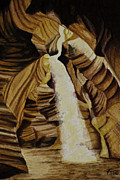 Canyon Drawings Posters - Antelope Canyon Poster by Robert Thornton