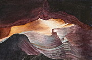 Slot Canyon Painting Originals - Antelope Canyon Watercolor by Frank SantAgata