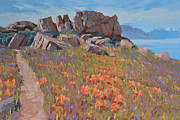 Landscape Paintings - Antelope Island Outcrop by Stephen Bartholomew