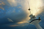 Journeys Prints - Antennas of a divers cruise boat at sunset Print by Sami Sarkis