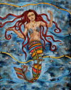 Modern Folk Art Paintings - Anthea by Rain Ririn