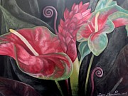 Flower Blooms Pastels Prints - Anthurium and Ginger Still Life Print by Terri Thompson