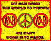 Anti-war Framed Prints - Anti-War Slogan Framed Print by David G Paul