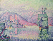 Boats On Water Framed Prints - Antibes Framed Print by Paul Signac