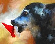 Toy Dog Paintings - Anticipating Christmas by Jai Johnson