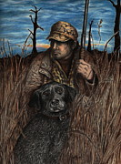 Duck Hunting Drawings - Anticipation by Kathleen Kelly Thompson