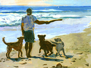 Dog Play Beach Paintings - Anticipation by Michael Jacques