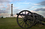 Civil War Cannon Prints - Antietam Cannon and Monument at Sunset Print by Judi Quelland