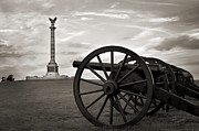 Civil War Cannon Prints - Antietam Cannon and New York Monument Print by Judi Quelland