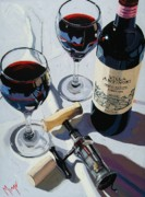 Wine Oil Prints - Antinori Evening Print by Christopher Mize