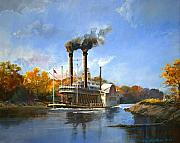 Mississippi River Painting Originals - Antioch on the Mississippi by Werner Pipkorn