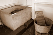 Antiquated Prints - Antiquated Bathtub Washboard and Laundry Tub in Sepia Print by Mary Deal