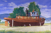 Hudson Valley Paintings - Antiquated Hudson River Tug by Glen Heberling