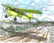 Old Farm Drawings - Antique Airplane Taking Flight by Bill Friday