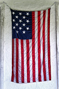 White Wall Posters - Antique American Flag Poster by Olivier Le Queinec