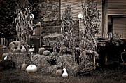 Corn Stalks Art - Antique Autumn by DigiArt Diaries by Vicky Browning