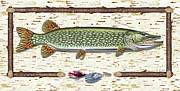 Pike Framed Prints - Antique Birch Pike and Lure Framed Print by JQ Licensing