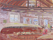 Skylight Paintings - Antique Boat Museum-Restoring the Wild Goose by Robert P Hedden