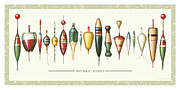 Bait Framed Prints - Antique Bobbers Framed Print by JQ Licensing