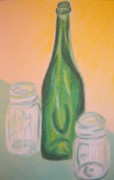 Wine-bottle Pastels - Antique Bottle and Jars by Emily Ruth Thompson