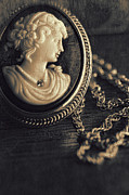Jewelry Prints - Antique cameo medallion on wood Print by Sandra Cunningham