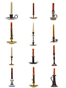 Collection Posters - Antique Candleholders Poster by Olivier Le Queinec