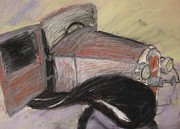 Transportation Pastels - Antique Car by Janel Bragg