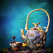 Black Ceramics Posters - Antique ceramic teapot Poster by Setsiri Silapasuwanchai
